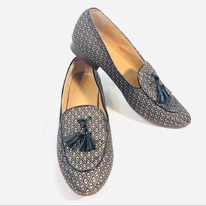 J. Crew Leather Textile Tassle Loafers